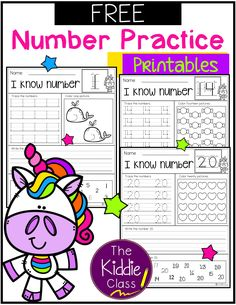 There are 3 printable pages of number practice in this packet. Students use a variety of skills with each practice page. They will learn to count, identify, trace and write numbers. This packet is perfect for kindergarten First Grade Freebies, Kindergarten Freebies, First Grade Math, Kindergarten Teachers, Numbers Kindergarten, Grade 1, Writing Numbers, Learning Numbers, Math Numbers