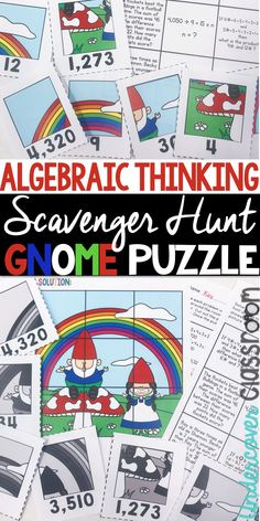 Algebraic thinking enrichment for upper elementary students. Practice word problems that involve algebraic concepts. Students search around the room for puzzle pieces to make a gnome puzzle. Fifth Grade, Third Grade, Teaching Tips, Teaching Math, Enrichment Activities, Center Ideas, Word Problems, Upper Elementary, Puzzle Pieces