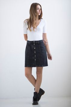 "Yoga Jeans – A-Line Button-Up Skirt, 17"" Length – Chicago"