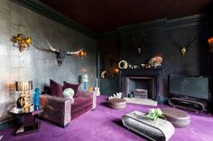 Eclectic Living Room by Chris Snook, dark colors and rich textures
