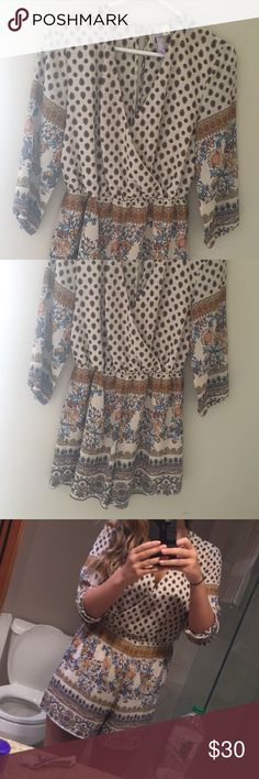 Francesca's romper! Only worn once! Size medium romper, so cute for summer with wedges!!! Only worn once, in great condition!!! Price is firm! Francesca's Collections Pants Jumpsuits & Rompers