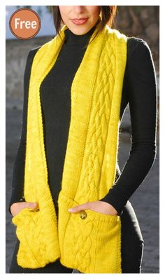 Free Knitting Pattern for Reader Scarf - This pocket scarf is knit with a 12 row repeat cable pattern. Designed by Lisa Kartus. Loom Knitting Scarf, Easy Scarf Knitting Patterns, Crochet Scarves, Crochet Shawl, Knit Patterns, Free Knitting, Knit Or Crochet, Knitted Shawls, Knitted Gifts