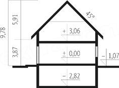 Przekrój pionowy projektu Tulipan G2 Line Chart, Floor Plans, Diagram, House Styles, American Houses, Floor Plan Drawing, House Floor Plans