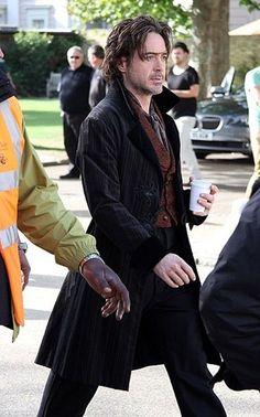 "Robert Downey Jr. walking to the set of ""Sherlock Holmes: A Game of Shadows"""