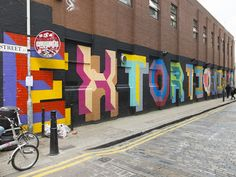 """Extortionists"" by Ben Eine, Ebor Street, E1. 