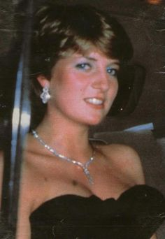 9 march 1981 at her first official night out as a newly engaged woman. Diana wears the diamond earrings she is to wear at her wedding. The palace was aghast when they saw her, firstly royals wear black at funerals. Second, they felt the gown was too low cut for a Lady and future Princess.