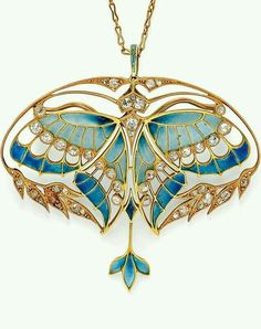 Art Nouveau Gold, Plique-à-Jour Enamel, and Diamond Pendant/Brooch, Henri Vever Paris. Designed as a butterfly with plique-à-jour enamel wings and bezel-set old mine-cut diamonds, framed by foliate motifs set with old mine- and rose-cut diamonds Bijoux Art Nouveau, Art Nouveau Jewelry, Jewelry Art, Fine Jewelry, Jewelry Design, Gold Jewelry, Jewelry Crafts, Diamond Jewelry, Jewelry Necklaces