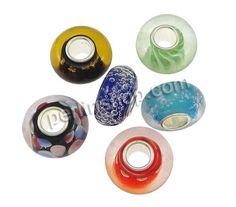 Lampwork Perlen European Stil, Rondell, Platinfarbe platiniert, einadriges Kabel Messing ohne troll, gemischte Farben, 8x14mm