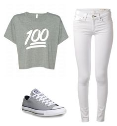 """""""Simple Emoji Outfit"""" by walexandria13 ❤ liked on Polyvore featuring rag & bone and Converse"""