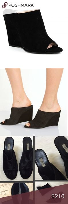 {Prada} Blk Velvet Wedge Mules Sale! An absolute STEAL--still retail for $650 online! Beautiful, soft, classic. Lush black velvet mules from the sleek style of Prada...in EUC--worn maybe 3 times. Soles in great shape, footbeds SUPER comfortable. No damage of note except one small mark in the velvet on side of left wedge. Not visible when worn. Priced accordingly. Classic--look great with black skinnies & cigarette jeans...instant closet staple. Prada; Size 39; like many high end designers…