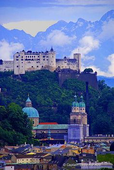 Hohensalzburg Fortress on Festungsberg Hill.  The Castle overlooking Salzburg, Austria