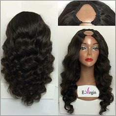 Virginhairfactory 7a Grade Body Wavy Brazilian Human Hair Wigs U Part Wig 130 Density 18 inch Natural Black Color - Brought to you by Avarsha.com
