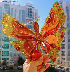 панно - витраж, ловушка света, из стекла, фьюзинг, автор Лилия Горбач