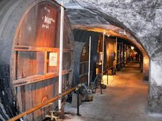 Caves de la Chartreuse - Cave à liqueurs des Pères Chartreux (sur la commune de Voiron) : alignement de fûts