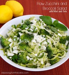 Raw Zucchini and Broccoli Salad with Mint and Feta - low carb recipe Raw Zucchini and Broccoli Salad with Mint and Feta - low carb recipe Salad Recipes Low Carb, Best Low Carb Recipes, Sugar Free Recipes, Keto Recipes, Healthy Recipes, Low Carb Side Dishes, Side Dish Recipes, Healthy Broccoli Salad, Healthy Menu