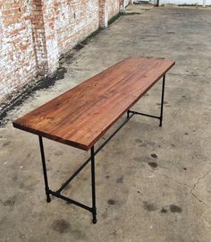 reclaimed wood and pipe H base desk by sunscoutfurniture on Etsy