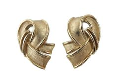 Crown Trifari Ribbon Earrings, Vintage Gold Tone Brushed and Polished Curved Clip-ons