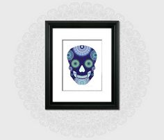 Modern halloween poster navy blue sugar skull by FeatherAndIndigo