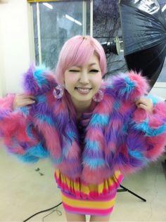 colourful fluffy fur jacket Frisko/Oakland