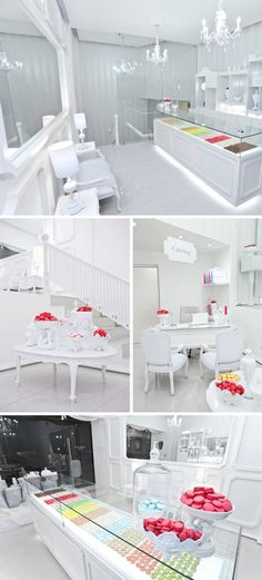 French Macaroon Shop!    The entire shop was selected to be white to contrast and enhance the color of the macaroons. Isn't it lovely?