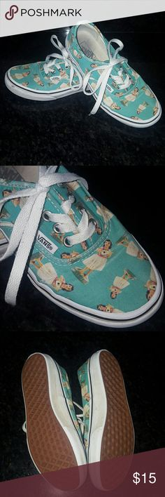 Kids Hula Girls Vans 2.0 boys or girls Hey darling pair of kids hula girl vans in good condition, still have a tongue life in them period clot in Disney World super super fun for just a kick around shoe. Paid $48  Please ask any and all questions before purchasing this item Vans Shoes Sneakers