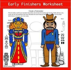 Fun and easy art worksheet for elementary kids. Great for winter and Christmas time. Nutcracker activity. Art Sub Plans, Art Lesson Plans, Art Lessons For Kids, Art Lessons Elementary, Middle School Art Projects, Early Finishers Activities, Art Worksheets, Easy Art Projects, Teaching Art