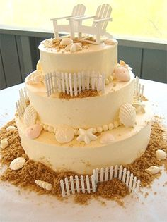 Find a seashell wedding cake design for your special day. Photos of unique summer and beach theme styles. Featuring seashells presented to fit summer wedding themes Pretty Cakes, Beautiful Cakes, Amazing Cakes, Beautiful Beach, Pretty Beach, Retirement Party Decorations, Retirement Cakes, Beach Decorations, Retirement Ideas