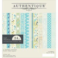 "Authentique Cuddle Boy Bundle Double - Sided Cardstock Pad 6"" x 6"" 24 Pack"
