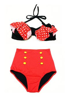 Black/Red Polkadot Bow Top and Red High Waisted by venderstore, $39.99