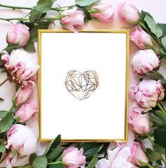 faux rose gold foil geometric heart art print faux gold foil