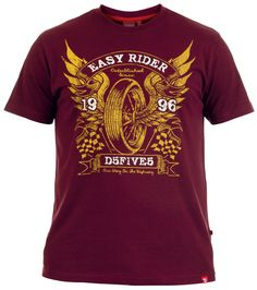 Kingsize retro 'Easy Rider' motorbike biker style print burgundy crew neck summer t-shirt in sizes 3XL - 6XL from Big Guys World - Fashion for the larger man.