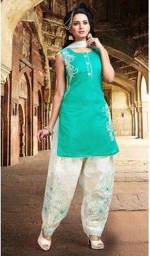 Turquoise Color Chanderi Silk Straight Cut Readymade Punjabi Patiyala Suit | FH512878070 #punjabi , #patiyala, #shindhi, #suits, #narrow, #dresses, #salwar, #kameez, #straight, #long, #heenastyle, #indian, #online, #shopping, #clothing, #womens, #girls, #style, #mode, #henna, #hina, #mehendi, #dupatta, #chudidar, @heenastyle , #pakistani, #readymade
