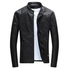Cheap leather clothing, Buy Quality mens pu jacket directly from China leather jacket men Suppliers: CARANFIER Men's PU Jackets Coats Motorcycle Leather Jackets Men Autumn Spring Leather Clothing Male Casual Coats Clothing Leather Jacket Brands, Men's Leather Jacket, Faux Leather Jackets, Leather Men, Leather Collar, Leather Coats, Lambskin Leather, Vegan Leather, Biker Look