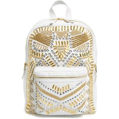 Ash 'Zuma' Studded & Beaded Leather Backpack ($495) ❤ liked on Polyvore featuring bags, backpacks, off white, studded backpack, top handle bag, pocket bag, leather rucksack and beaded bag