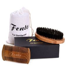 Fento Boar Bristle Beard Brush and Beard Comb Set - For Men Beard and Mustache, Thick & Thin Teeth Sandal Wood Comb, With Gift Box and Carrying Bag - Hipster Beard Products Wood Comb, Hipster Beard, Beard Brush, Boar Bristle, Hand Therapy, Hair Removal Cream, Thick And Thin, Beard No Mustache, Men Beard