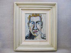 Framed Portraiture Picture of Men,Hand Painted,Canvas Original Fine Art Contemporary Surreal Male Portrait Painting