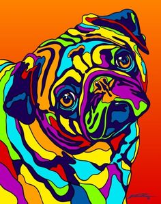 Buy Pug Matted Prints Canvas Giclees At Multi Color Dog - Multi Color Pug Dog Matted Prints Canvas Giclees Hand Painted And Printed In Usa By The Artist Michael Vistia Dog Breed The Pug Is A Breed Of Dog With A Wrinkly Short Muzzled Face And Curled Tableau Pop Art, Pug Art, Pug Pop Art, Bulldog, Colorful Animals, Colorful Animal Paintings, Dog Paintings, Pug Love, Kirigami