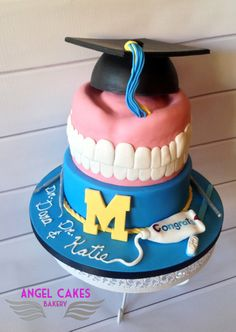 Graduation Party Planning, Graduation Cake, Dental Cake, Doctor Cake, Baking Clay, Angel Cake, Fondant, Bakery Cakes, Grad Parties