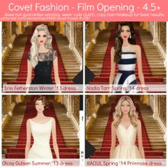 Covet Fashion - Film Opening - Jet Set - 4.5+ stars. Does not guarantee winning. Wear cute clutch. Copy hair and make-up for best results.
