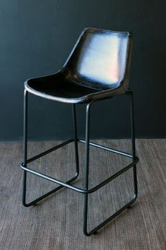 Counter Top Height - Industrial Leather Bar Stool - Black