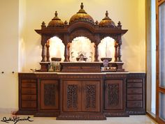 Wooden Temple For Home, Temple Design For Home, Indian Home Design, Altar, Door And Window Design, Mandir Design, Pooja Room Door Design, Puja Room, Indian Homes