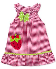 Rare Editions Little Girls Strawberry Gingham Seersucker Dress - Red 5 Baby Girl Clothes Sale, Toddler Girl Outfits, Baby Girl Dresses, Kids Outfits, Toddler Girls, Girls Frock Design, Baby Dress Patterns, Seersucker Dress, Frocks For Girls