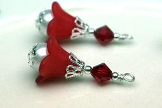 2 Piece Vintage Style Red Lucite Flower with by bountyofbeads, $5.50