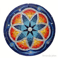 Mosaic mandala by Fernanda JatonMosaic Art using Sacred Geometry and Mosaic MandalasThe World's Best Photos of mandalaMosaic Kits for Beginners Mosaic Kits, Mosaic Projects, Art Projects, Mosaic Ideas, Mandala Art, Mandala Design, Free Mosaic Patterns, Mosaic Coffee Table, Mosaic Tables
