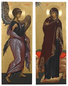 The Annunciation - The Icons of the Monastery of St. Religious Images, Religious Icons, Religious Art, Byzantine Icons, Byzantine Art, Lucas 1 26 38, Art History Major, Angel Drawing, Archangel Gabriel