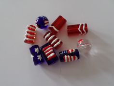 Patriotic Red White Blue Flag Lampwork Glass Beads by CathyMcKeighanDesign on Etsy