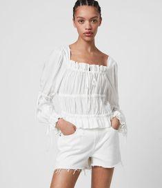 ALLSAINTS US: Womens Kimi Silk Blend Top (black)