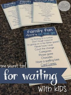 Ever find yourself waiting with kids? Of course, you do! Whether it's the doctor's office or piano lessons, waiting is something we do nearly everyday. Why not use this time for some family building? You'll love this secret tool that I keep in my wallet! FREE PRINTABLE!