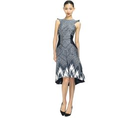 Bibhu Mohapatra Fez Print Day Dress ($2,099) ❤ liked on Polyvore featuring dresses, pattern dress, mixed print dress, white print dress, cap sleeve dress and print dress
