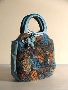 Nuno Felted Wool bag Teal Roses Purse OOAK by beatassoul on Etsy, $85.00